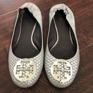 Tory Burch Reva Ballet Flats - silver snake skin